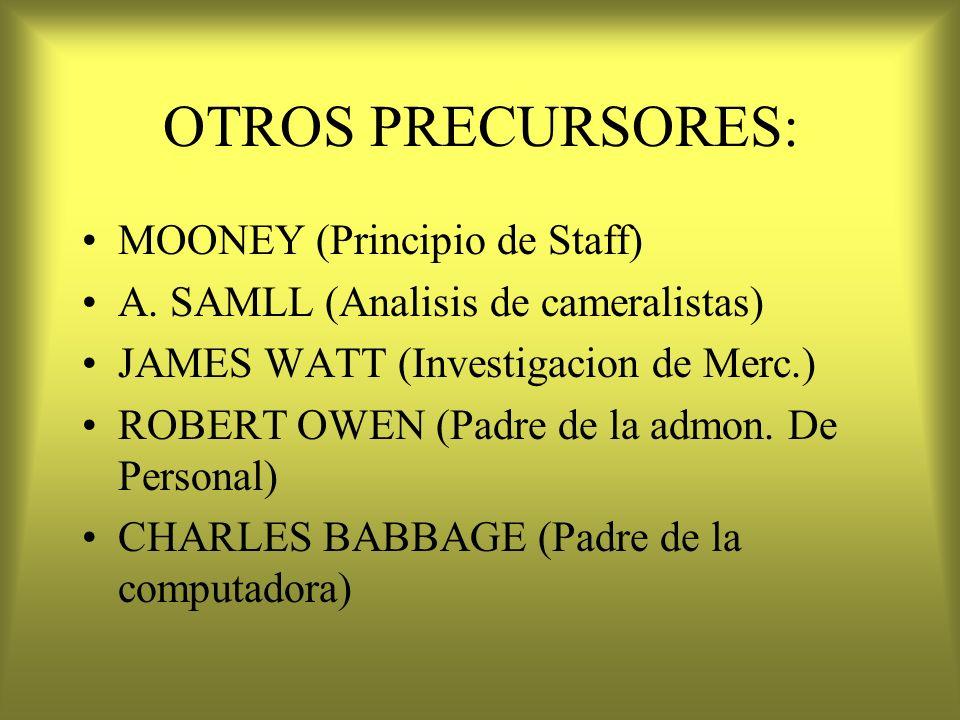OTROS PRECURSORES: MOONEY (Principio de Staff)