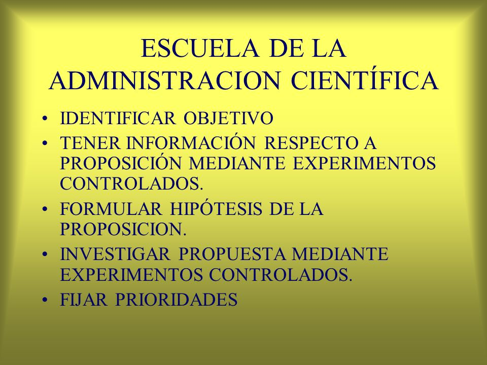 ESCUELA DE LA ADMINISTRACION CIENTÍFICA