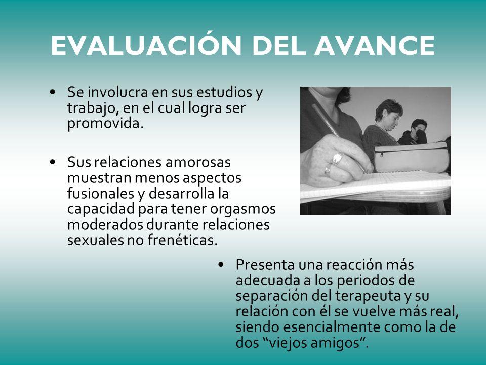 EVALUACIÓN DEL AVANCE Se involucra en sus estudios y trabajo, en el cual logra ser promovida.