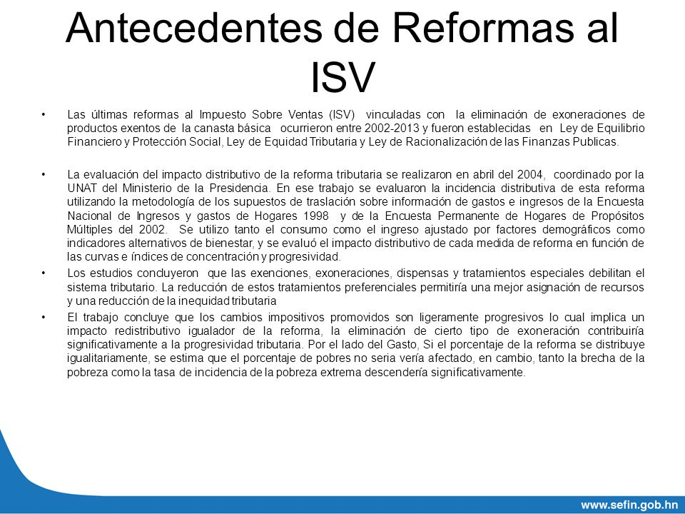 Antecedentes de Reformas al ISV
