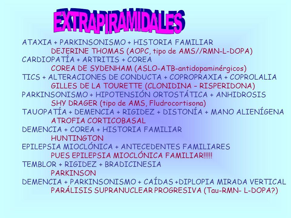 EXTRAPIRAMIDALES ATAXIA + PARKINSONISMO + HISTORIA FAMILIAR