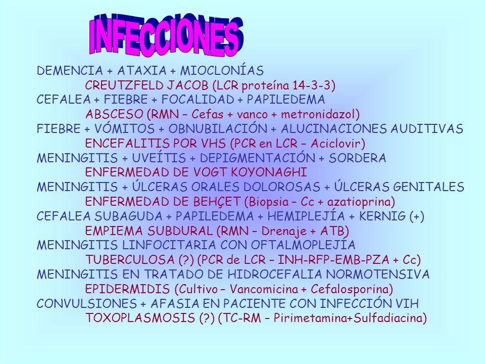 INFECCIONES DEMENCIA + ATAXIA + MIOCLONÍAS