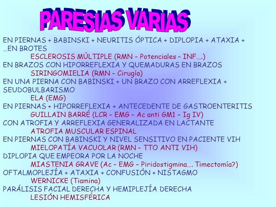 PARESIAS VARIAS EN PIERNAS + BABINSKI + NEURITIS ÓPTICA + DIPLOPIA + ATAXIA + …EN BROTES. ESCLEROSIS MÚLTIPLE (RMN – Potenciales – INF….)