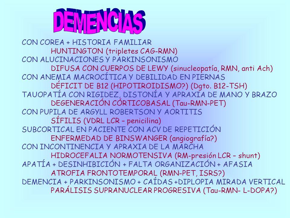 DEMENCIAS CON COREA + HISTORIA FAMILIAR HUNTINGTON (tripletes CAG-RMN)