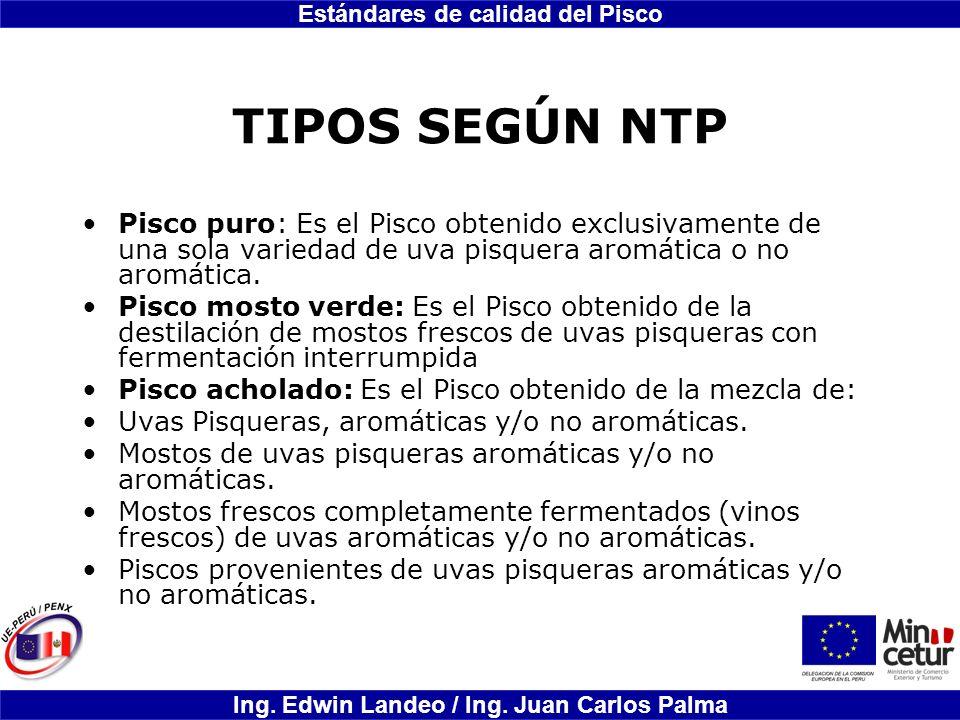 TIPOS SEGÚN NTP Pisco puro: Es el Pisco obtenido exclusivamente de una sola variedad de uva pisquera aromática o no aromática.