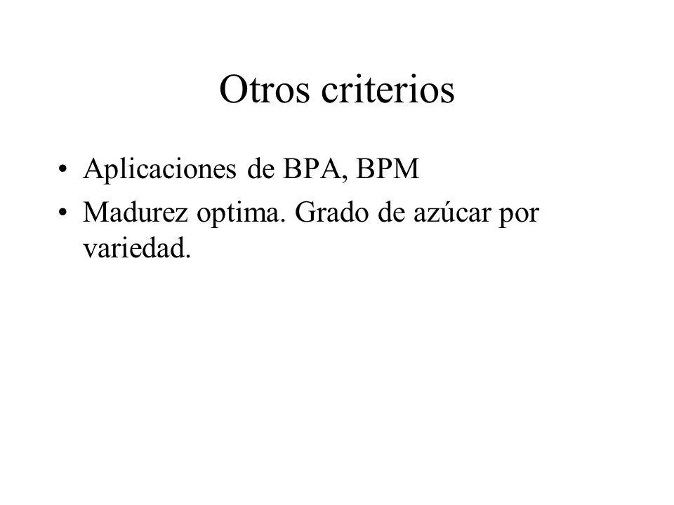 Otros criterios Aplicaciones de BPA, BPM