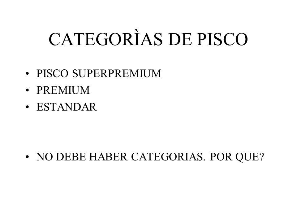 CATEGORÌAS DE PISCO PISCO SUPERPREMIUM PREMIUM ESTANDAR