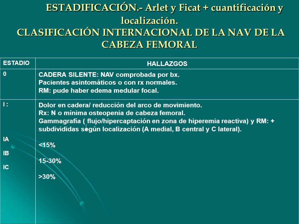 ESTADIFICACIÓN. - Arlet y Ficat + cuantificación y localización