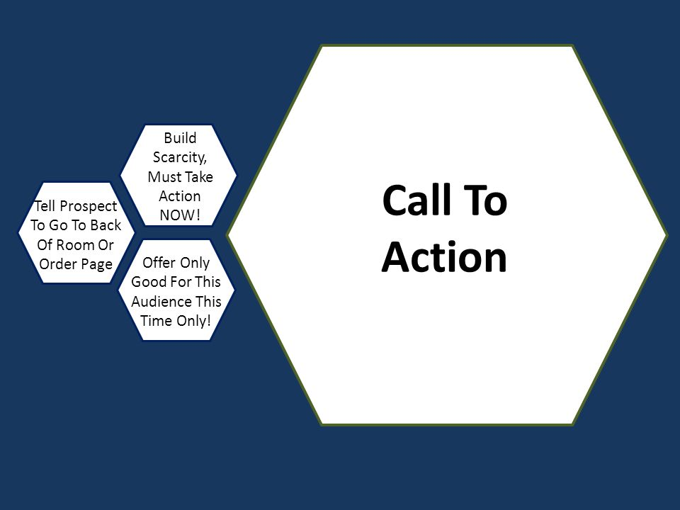 Call To Action Build Scarcity, Must Take Action NOW! Tell Prospect