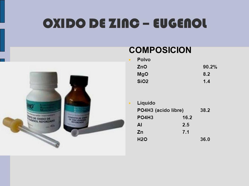 OXIDO DE ZINC – EUGENOL COMPOSICION Polvo ZnO 90.2% MgO 8.2 SiO2 1.4
