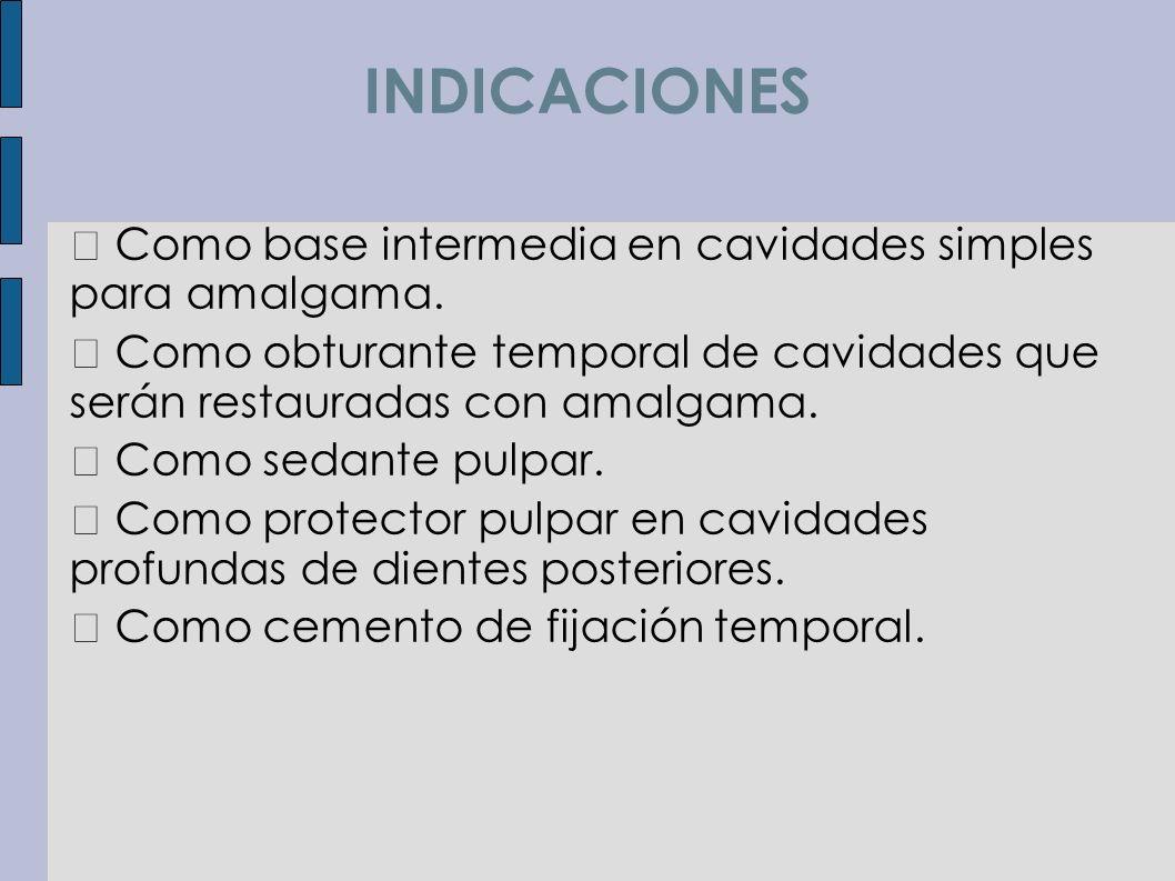 INDICACIONES  Como base intermedia en cavidades simples para amalgama.  Como obturante temporal de cavidades que serán restauradas con amalgama.