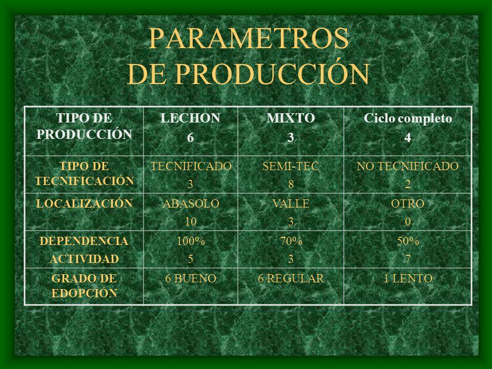 PARAMETROS DE PRODUCCIÓN