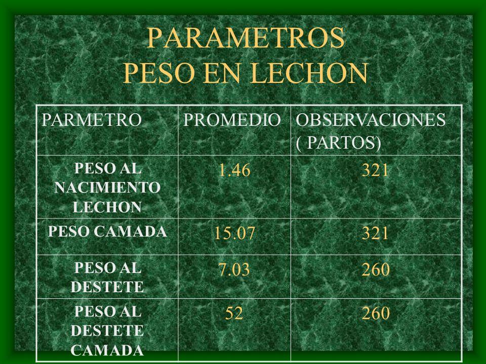 PARAMETROS PESO EN LECHON