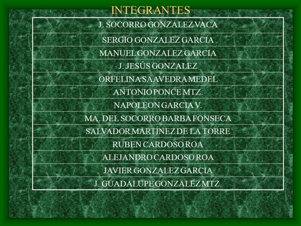 INTEGRANTES J. SOCORRO GONZALEZ VACA SERGIO GONZALEZ GARCIA
