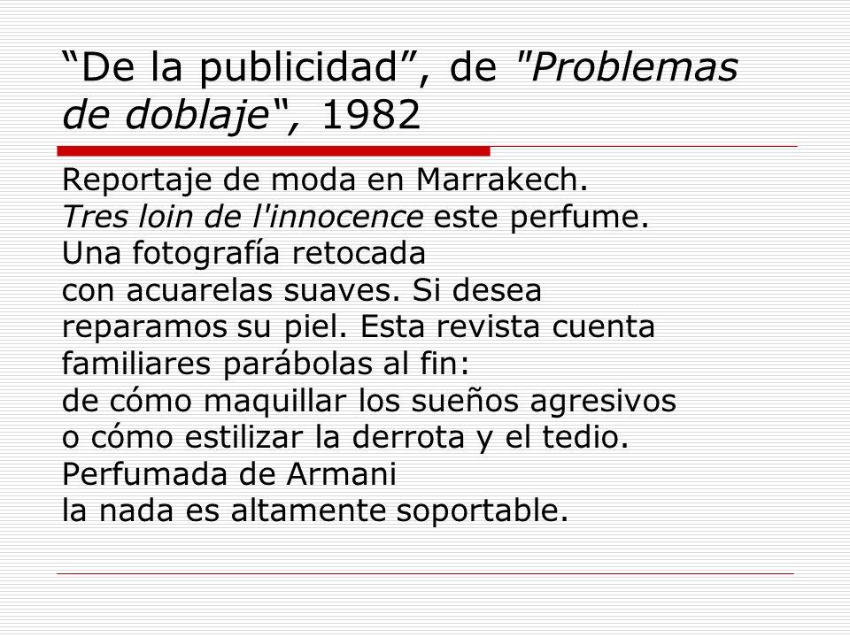 De la publicidad , de Problemas de doblaje , 1982