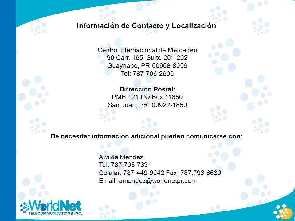 Información de Contacto y Localización