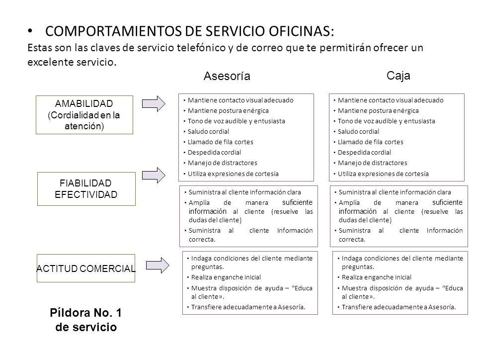 COMPORTAMIENTOS DE SERVICIO OFICINAS: