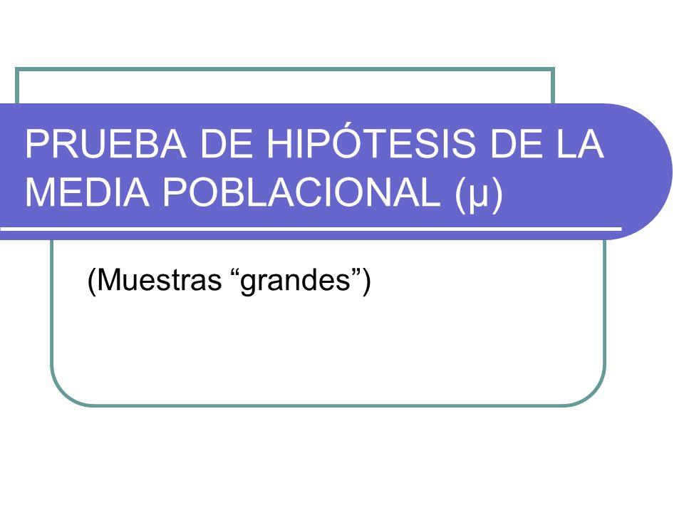 PRUEBA DE HIPÓTESIS DE LA MEDIA POBLACIONAL (μ)