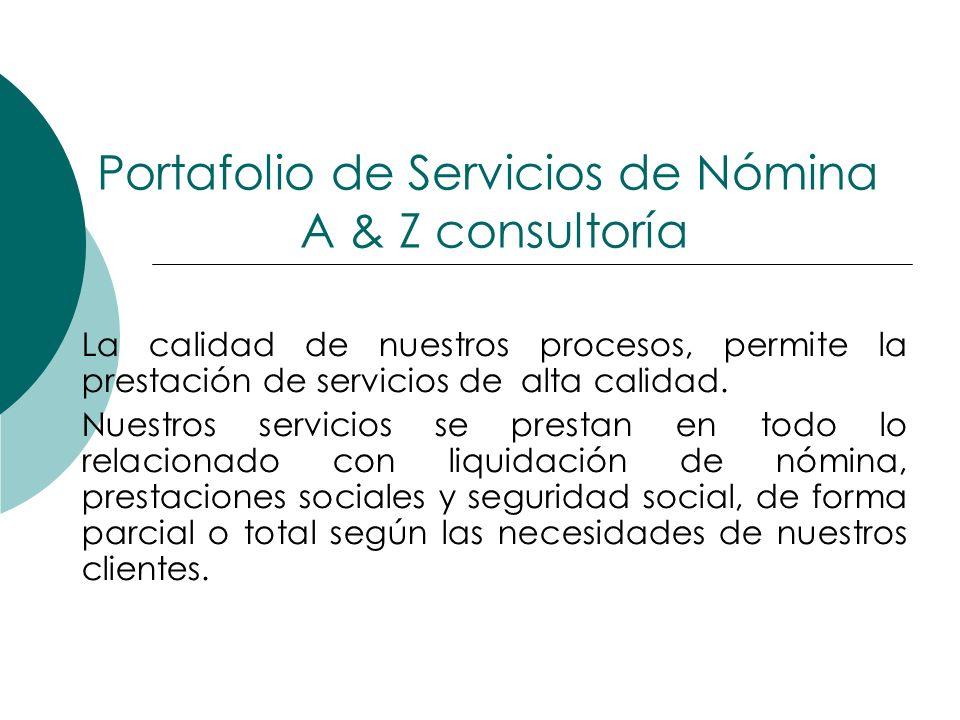 Portafolio de Servicios de Nómina A & Z consultoría