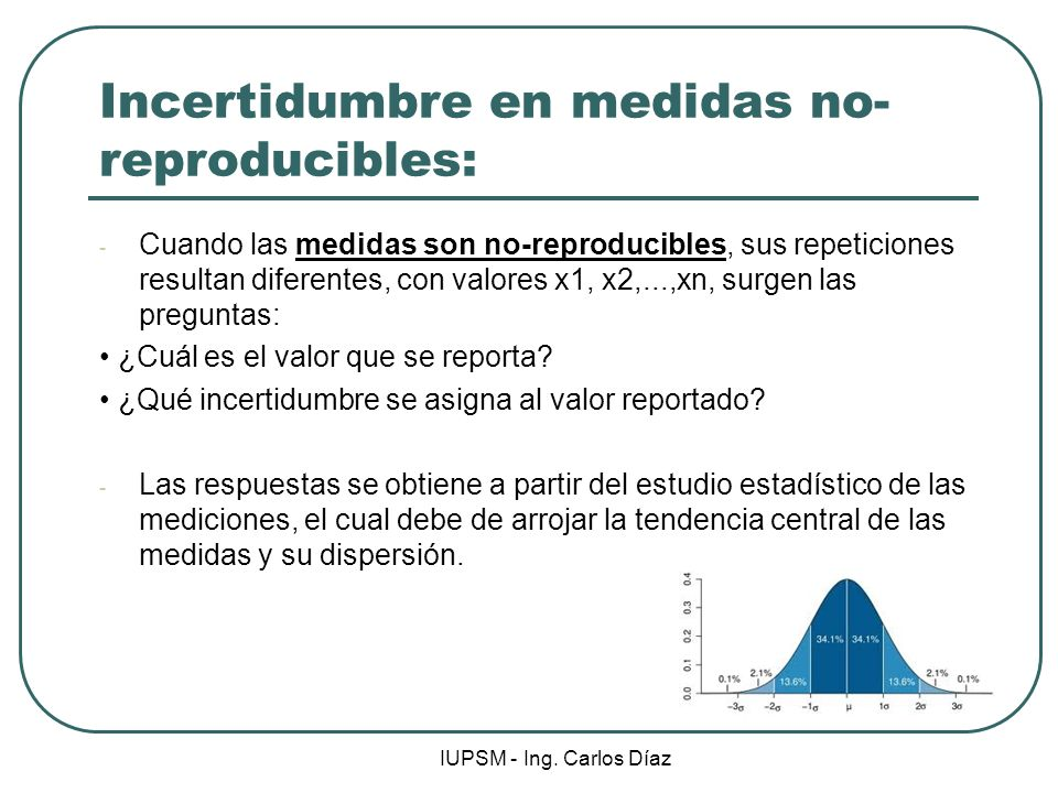 Incertidumbre en medidas no-reproducibles: