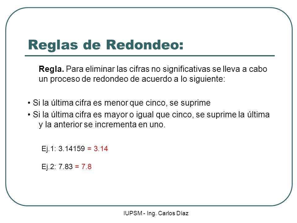 Reglas de Redondeo: Regla. Para eliminar las cifras no significativas se lleva a cabo un proceso de redondeo de acuerdo a lo siguiente: