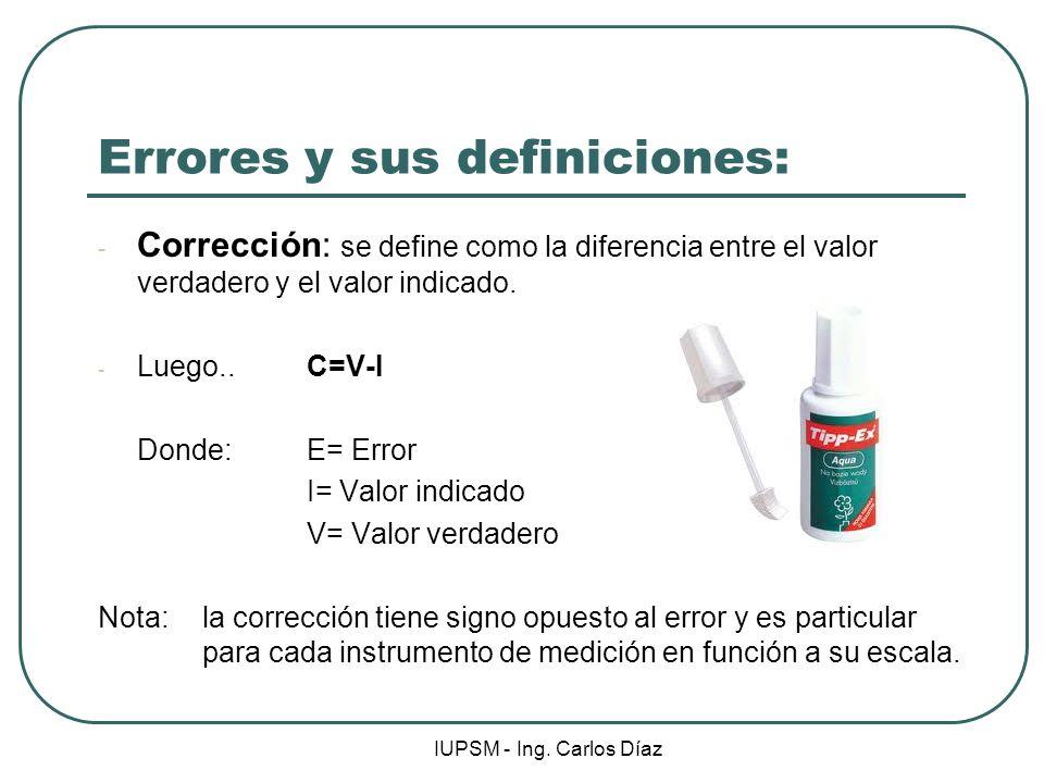 Errores y sus definiciones: