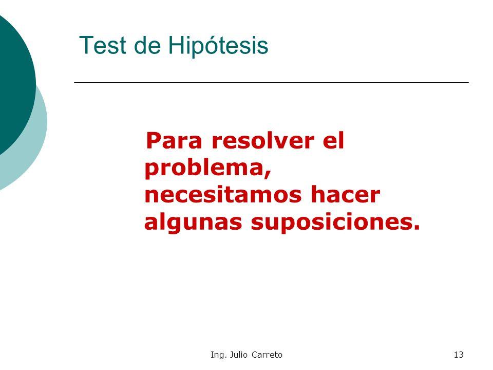 Test de Hipótesis Para resolver el problema, necesitamos hacer algunas suposiciones.