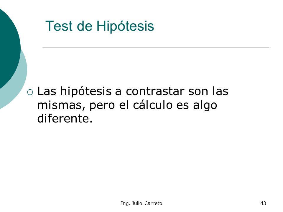 Test de Hipótesis Las hipótesis a contrastar son las mismas, pero el cálculo es algo diferente.