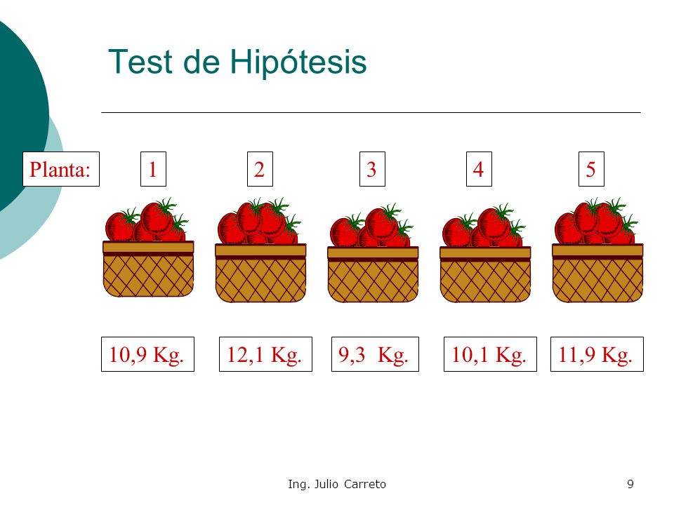Test de Hipótesis Planta: 1 2 3 4 5 10,9 Kg. 12,1 Kg. 9,3 Kg. 10,1 Kg.
