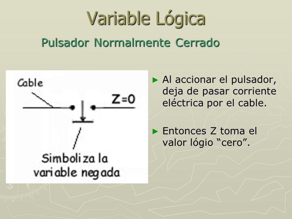 Variable Lógica Pulsador Normalmente Cerrado