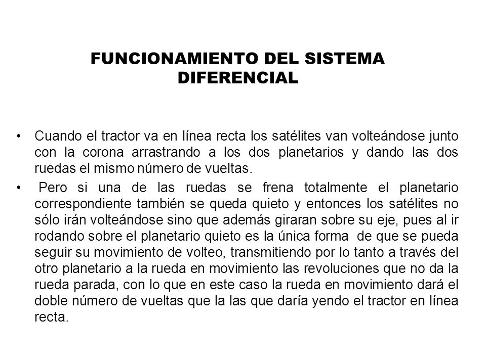 FUNCIONAMIENTO DEL SISTEMA DIFERENCIAL