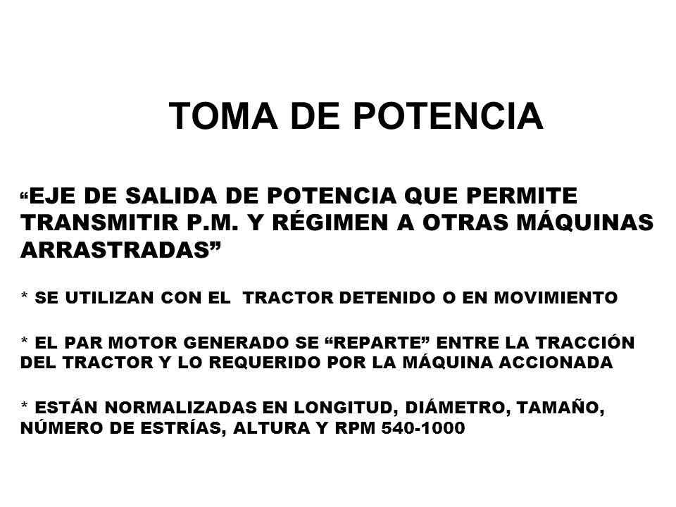 TOMA DE POTENCIA EJE DE SALIDA DE POTENCIA QUE PERMITE TRANSMITIR P.M. Y RÉGIMEN A OTRAS MÁQUINAS ARRASTRADAS