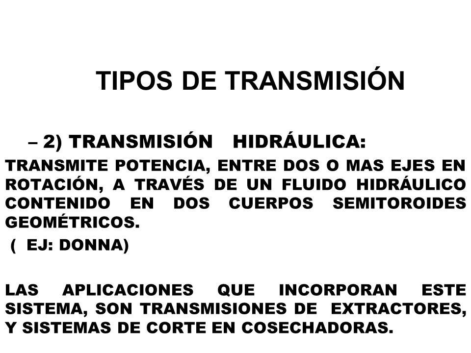 TIPOS DE TRANSMISIÓN 2) TRANSMISIÓN HIDRÁULICA: