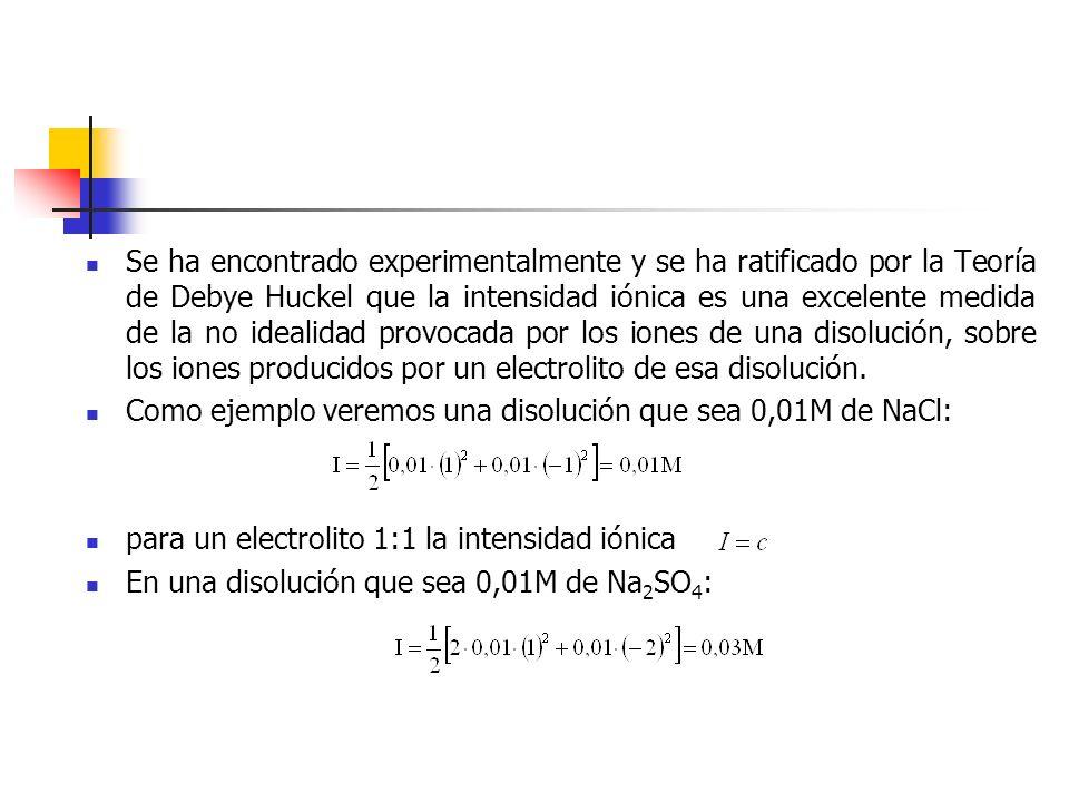 Se ha encontrado experimentalmente y se ha ratificado por la Teoría de Debye Huckel que la intensidad iónica es una excelente medida de la no idealidad provocada por los iones de una disolución, sobre los iones producidos por un electrolito de esa disolución.