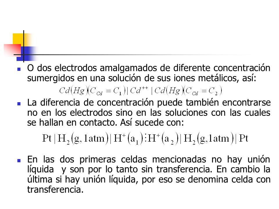 O dos electrodos amalgamados de diferente concentración sumergidos en una solución de sus iones metálicos, así:
