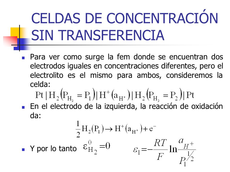 CELDAS DE CONCENTRACIÓN SIN TRANSFERENCIA