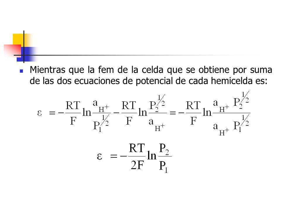 Mientras que la fem de la celda que se obtiene por suma de las dos ecuaciones de potencial de cada hemicelda es: