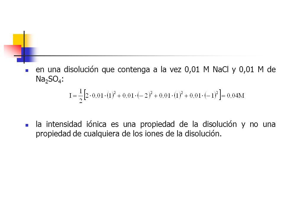 en una disolución que contenga a la vez 0,01 M NaCl y 0,01 M de Na2SO4: