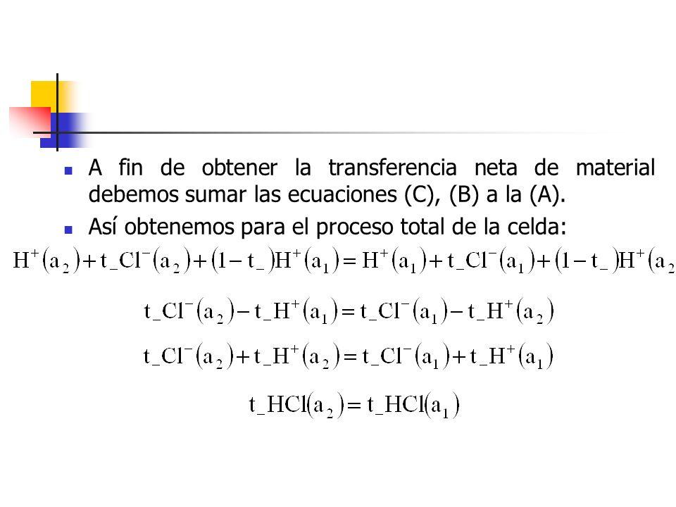 A fin de obtener la transferencia neta de material debemos sumar las ecuaciones (C), (B) a la (A).