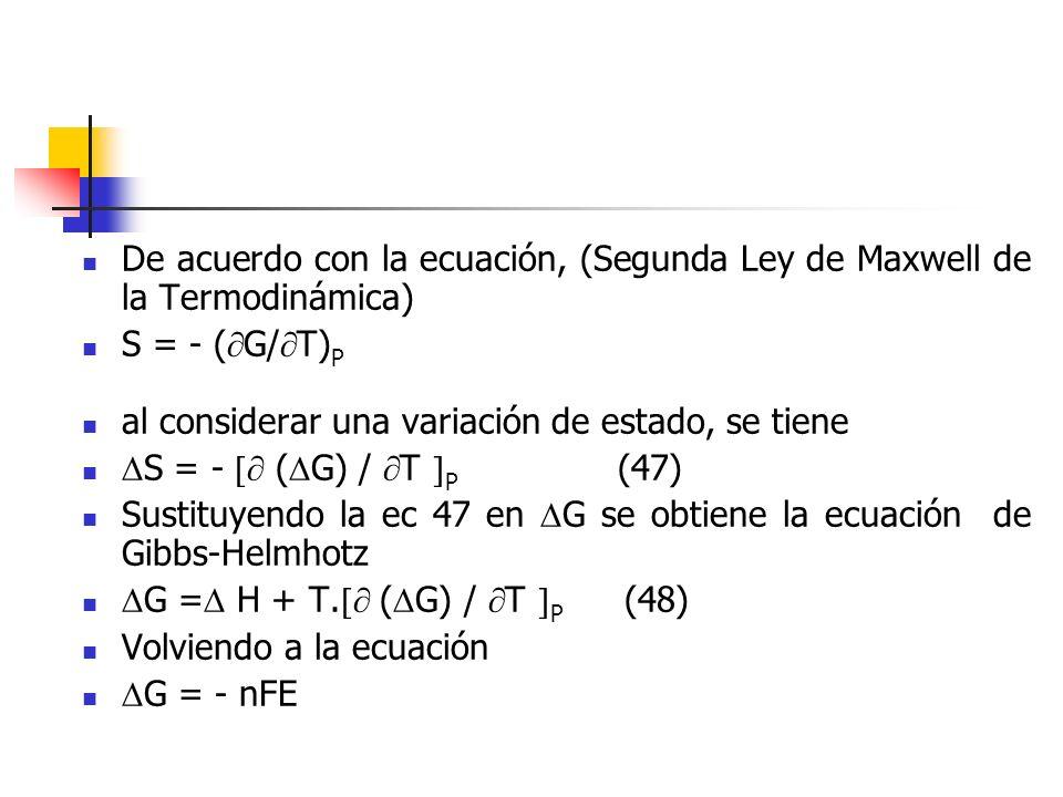De acuerdo con la ecuación, (Segunda Ley de Maxwell de la Termodinámica)