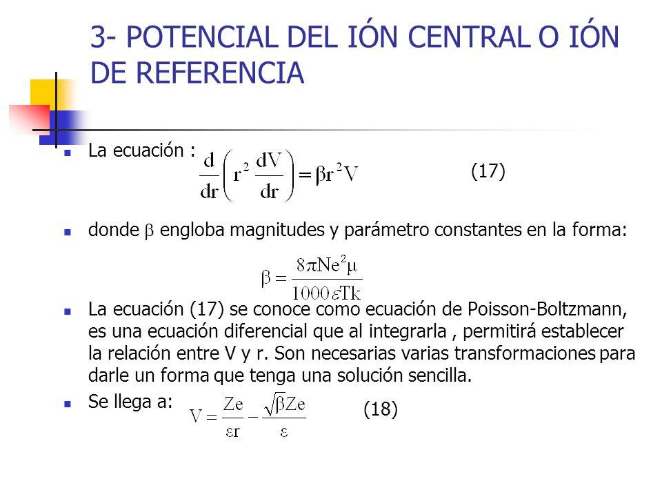 3- POTENCIAL DEL IÓN CENTRAL O IÓN DE REFERENCIA