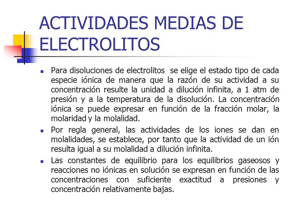 ACTIVIDADES MEDIAS DE ELECTROLITOS