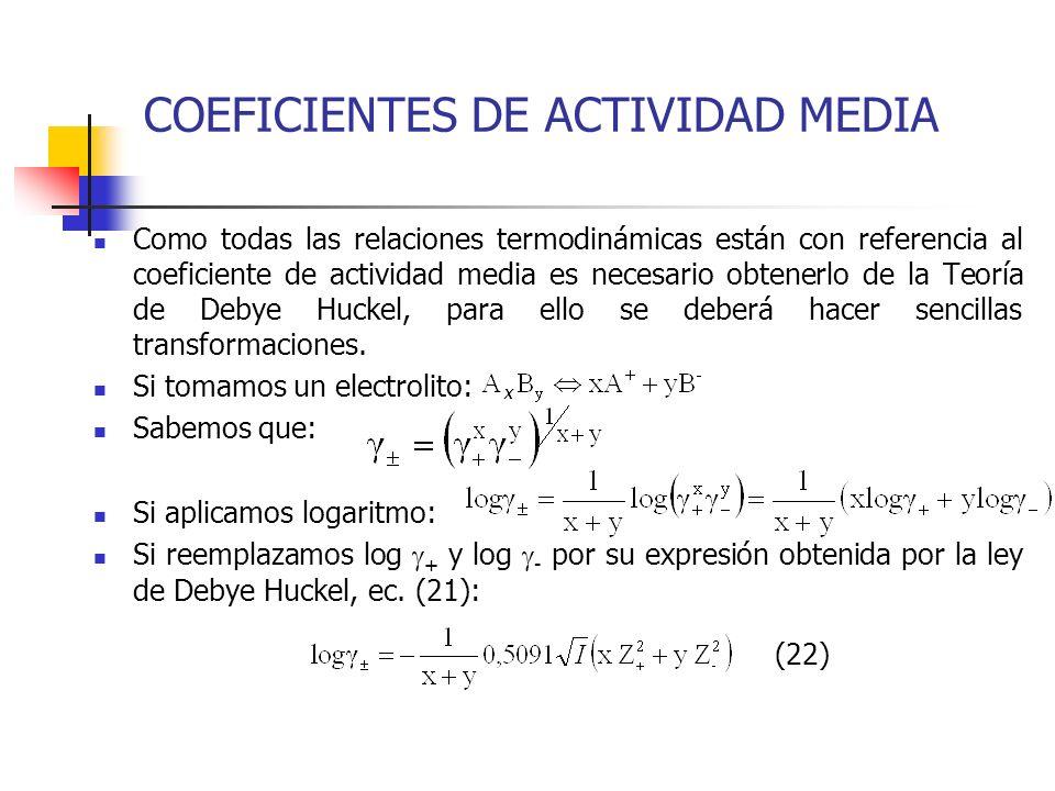COEFICIENTES DE ACTIVIDAD MEDIA
