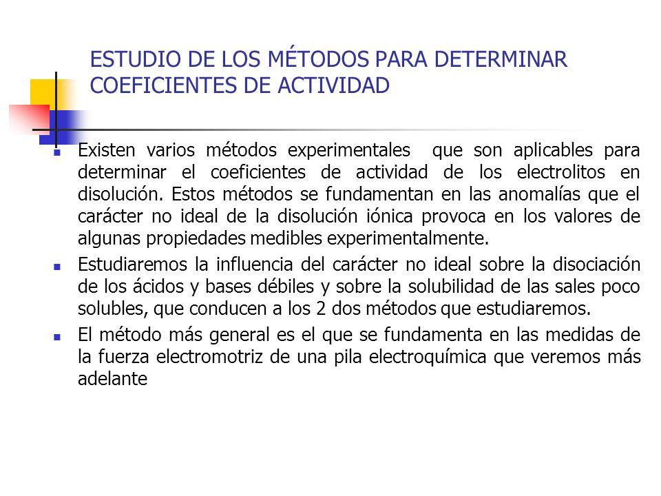 ESTUDIO DE LOS MÉTODOS PARA DETERMINAR COEFICIENTES DE ACTIVIDAD