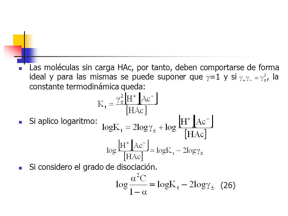 Las moléculas sin carga HAc, por tanto, deben comportarse de forma ideal y para las mismas se puede suponer que =1 y si , la constante termodinámica queda: