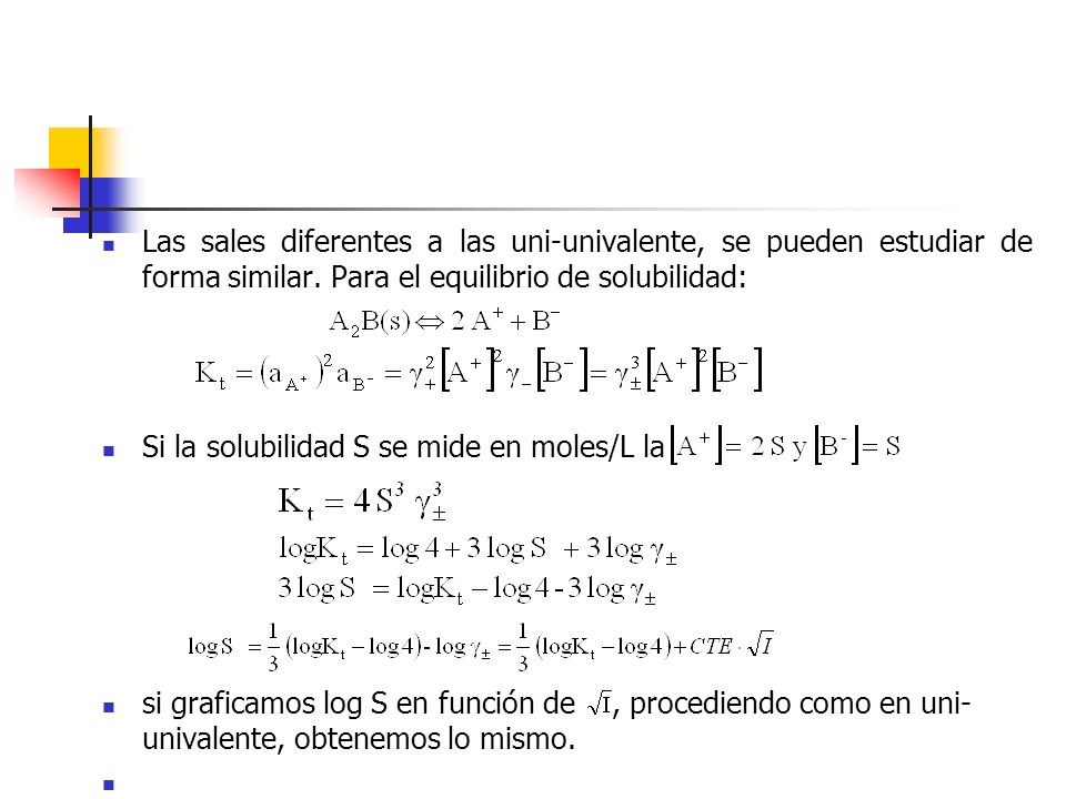 Las sales diferentes a las uni-univalente, se pueden estudiar de forma similar. Para el equilibrio de solubilidad:
