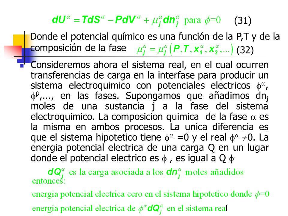 (31) Donde el potencial químico es una función de la P,T y de la composición de la fase. (32)