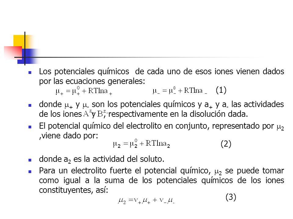 Los potenciales químicos de cada uno de esos iones vienen dados por las ecuaciones generales: