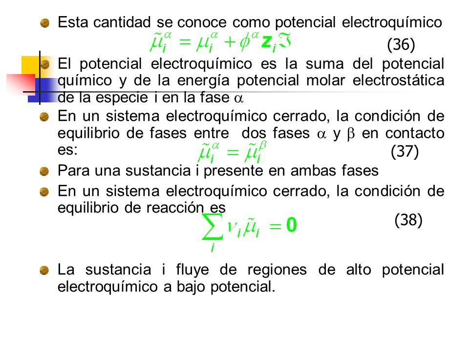 Esta cantidad se conoce como potencial electroquímico