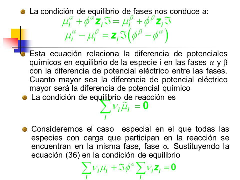 La condición de equilibrio de fases nos conduce a: